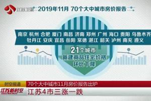 70个大中城市11月房价报告出炉 江苏4市三涨一跌
